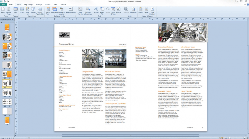 Publisher: a viable desktop publishing alternative. An example of a Publisher document layout.