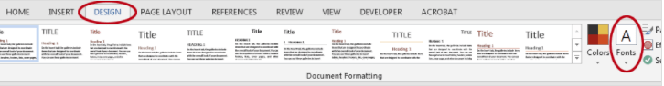 How to change the font theme in a Word template. The Design tab.