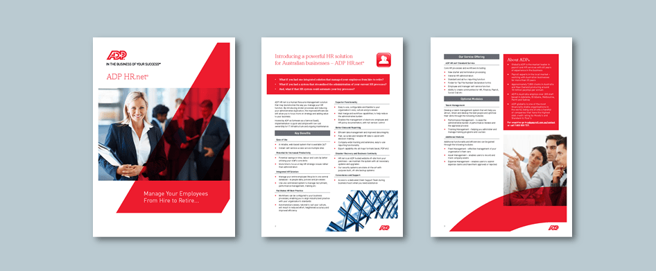 Word brochure template for HR management software company. Client: ADP