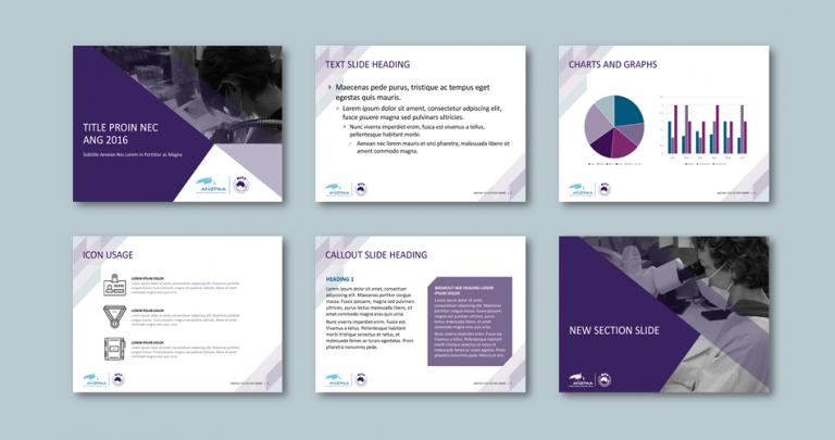 PowerPoint presentation template for policing advisory agency. Client: Australia New Zealand Policing Advisory Agency (ANZPAA)