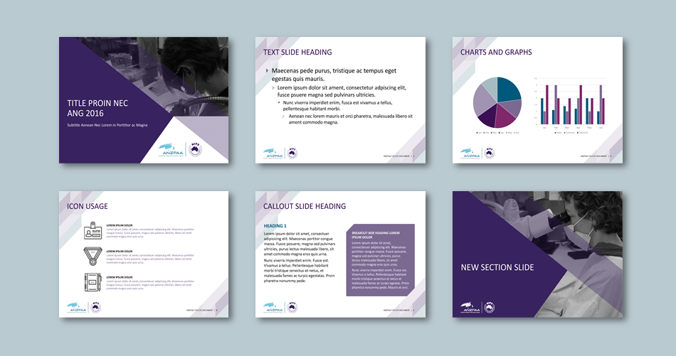 PowerPoint presentation template for policing advisory agency​. Client: Australia New Zealand Policing Advisory Agency (ANZPAA)
