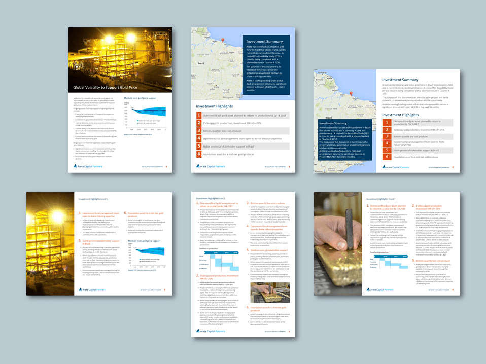 PowerPoint A4 report templates for global equity firm​. Client: Arete Capital Partners