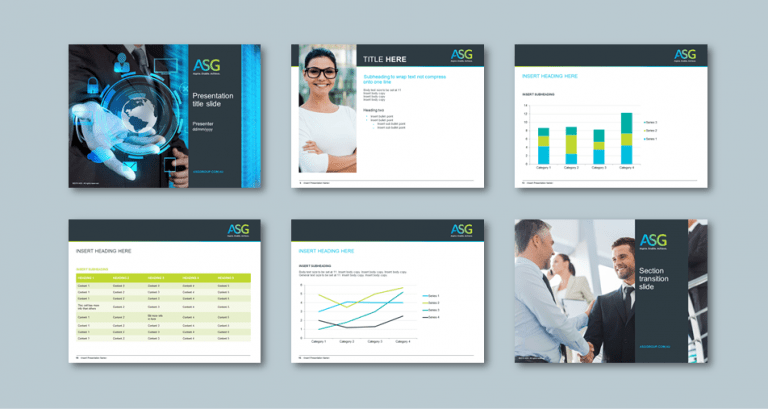 InDesign to PowerPoint presentation template for digital transformation consultancy​. Client: ASG