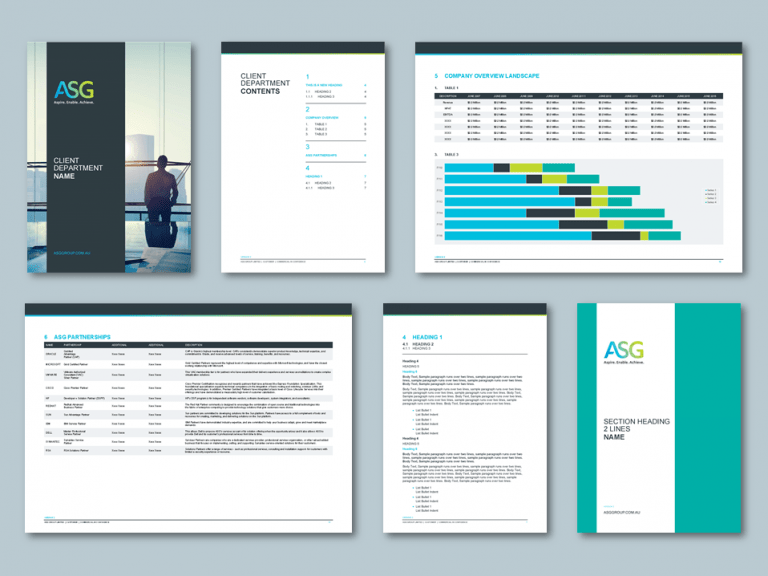 InDesign to Word bid templates for digital transformation company. Client: ASG