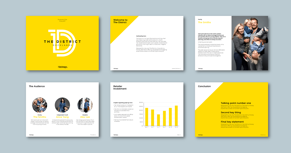 InDesign to PowerPoint presentation template for financial consultancy. Client: Ashe Morgan