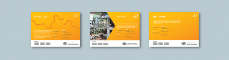 InDesign to Publisher exhibitor invitation templates for trade investment commission. Client: Austrade