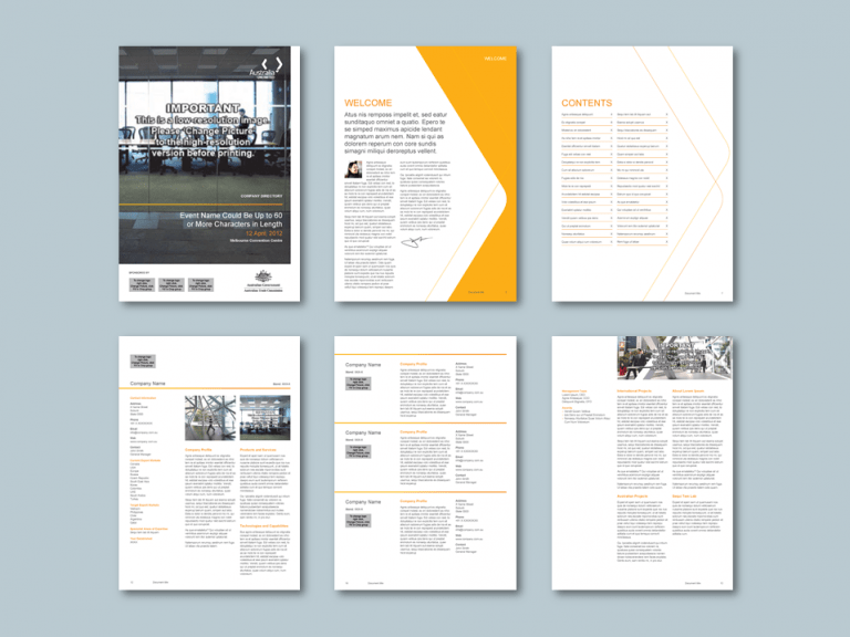 InDesign to Publisher exhibitor directory templates for trade investment commission​. Client: Austrade
