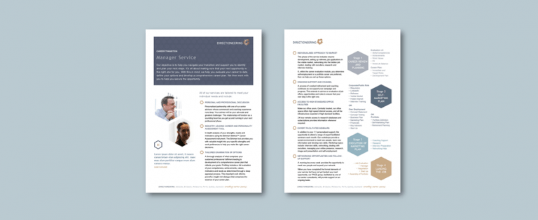 Word service description brochure template for executive career strategy firm​. Client: Directioneering