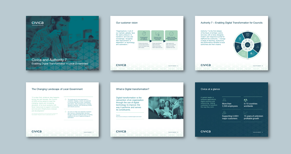 InDesign to PowerPoint presentation template for software applications services. Client: Civica