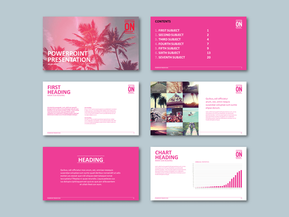 InDesign to PowerPoint widescreen presentation template for fashion retailer. Client: Cotton On
