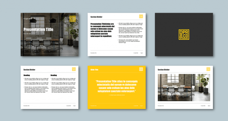 PowerPoint presentation template for advertising agency. Client: DPR&Co