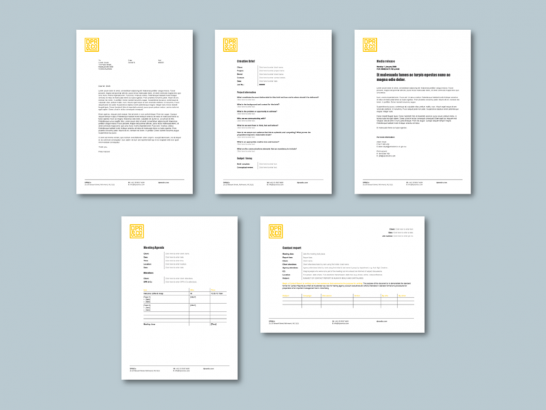 Word office stationery templates for advertising agency​. Client: DPR&Co