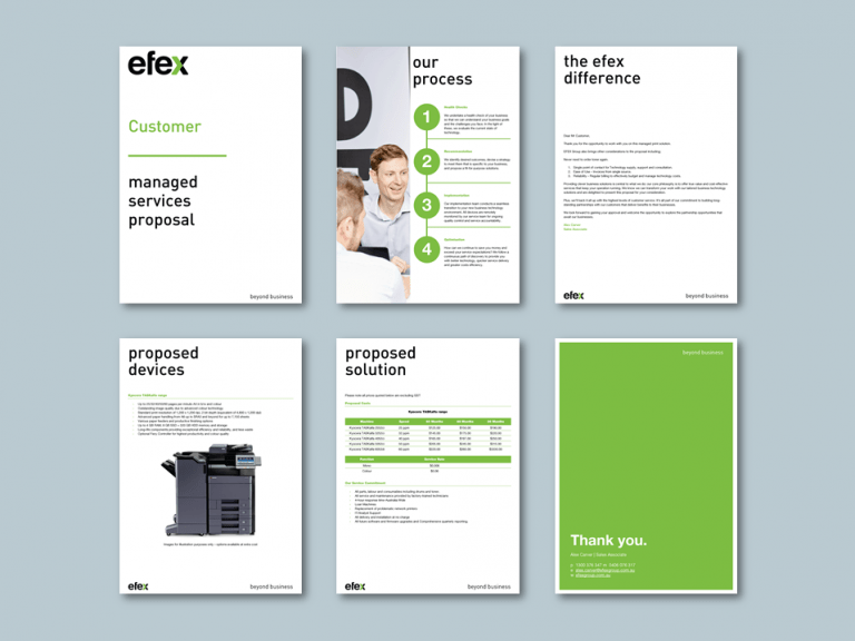 Word proposal template for technology solutions company. Client: Efex