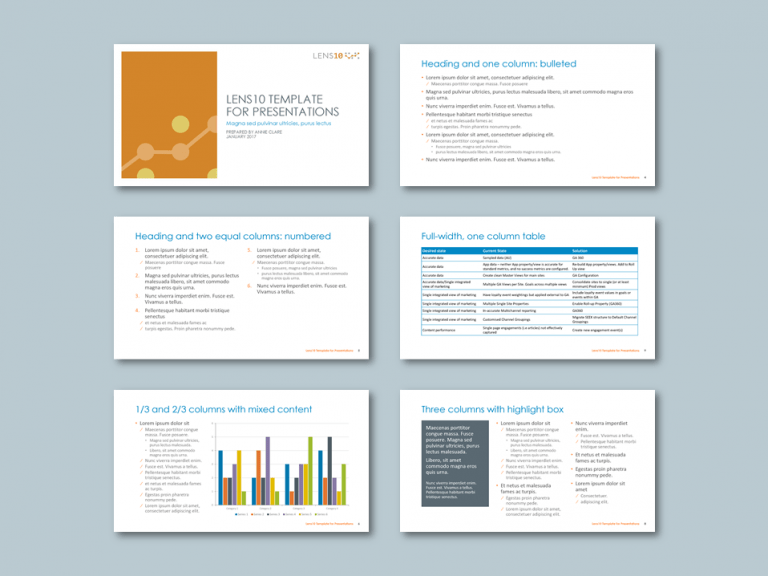 PowerPoint widescreen presentation template for digital strategy consultancy. Client: Lens10