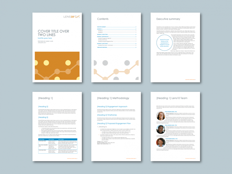 Word proposal template for digital strategy consultancy​. Client: Lens10