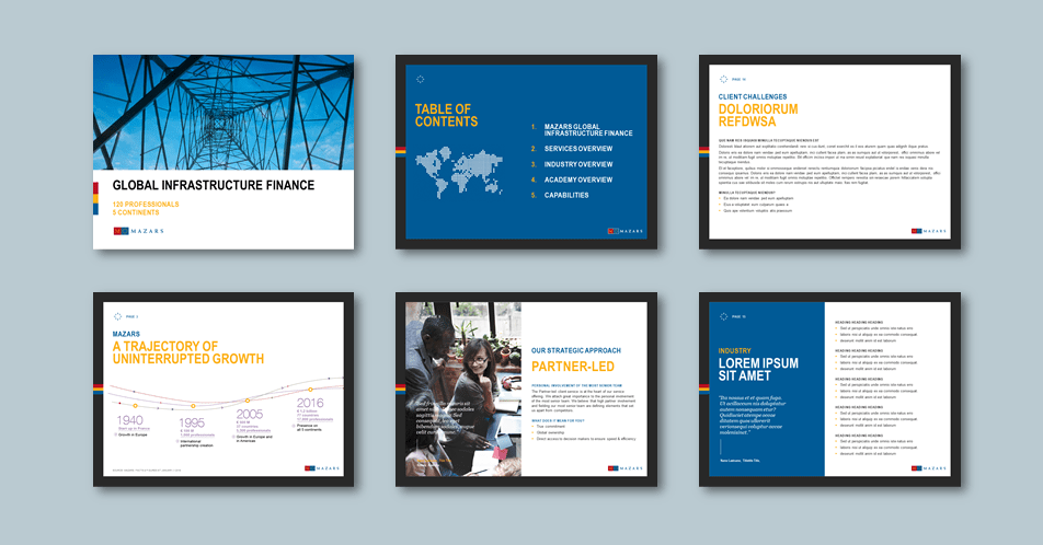 InDesign to PowerPoint presentation template for accounting advisory firm. Client: Mazars