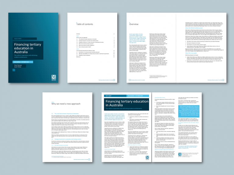 Word report and newsletter templates for education advisory ngo. Client: The Mitchell Institute