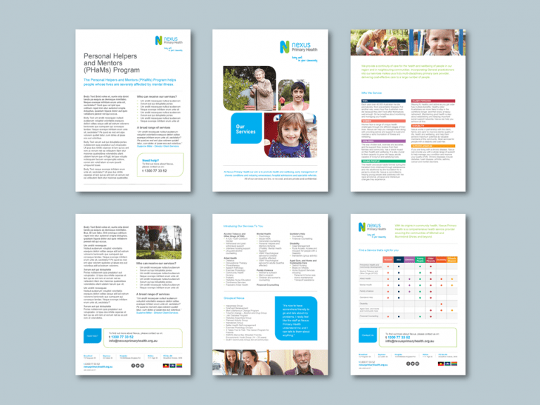 InDesign to Word brochure templates for health services provider. Client: Nexus Primary Health