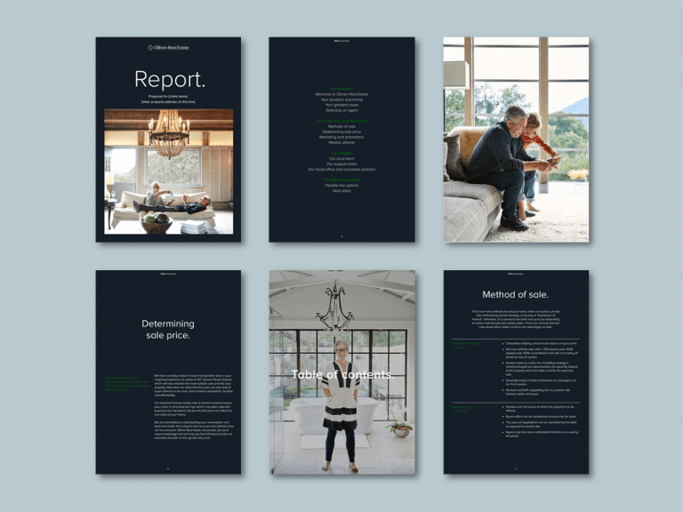 Publisher report template for property management agency​. Client: OBrien