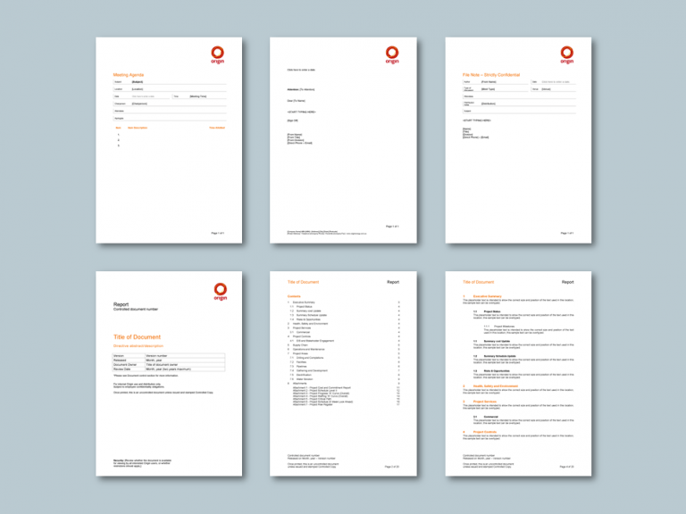 Word report and stationery templates for energy retailer​. Client: Origin Energy