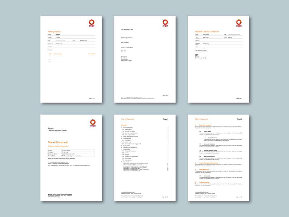 Word report and stationery templates for energy retailer. Client: Origin Energy