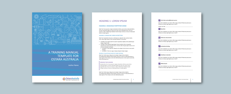 Word training manual template for disability employment service​. Client: Ostara Australia