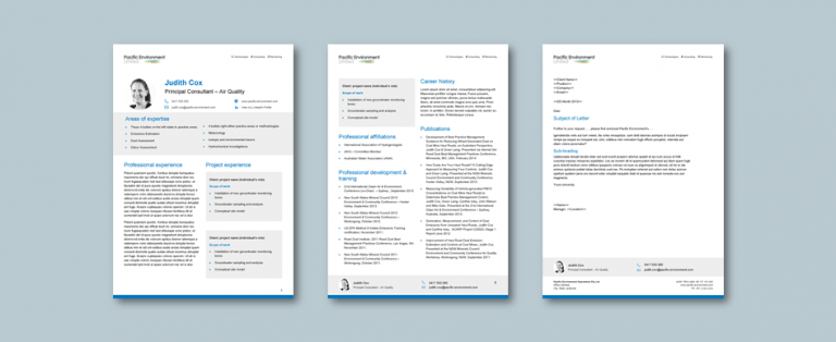 InDesign to Word cv and letterhead templates for environmental technology consultancy​. Client: Pacific Environment