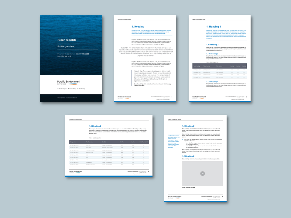InDesign to Word proposal template for environmental technology consultancy. Client: Pacific Environment