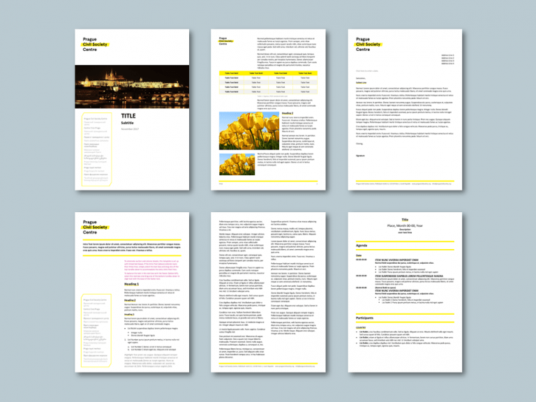 Word report and stationery templates for civil society ngo. Client: Prague Civil Society Centre (PCSC)