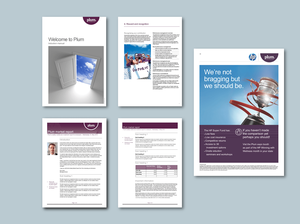 InDesign to Word induction manual, report, and poster templates for superannuation provider. Client: Plum Superannuation
