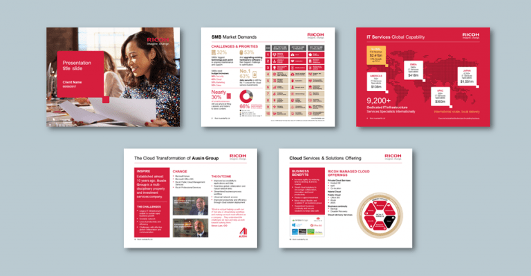 InDesign to PowerPoint presentation template for electronics company. Client: Ricoh