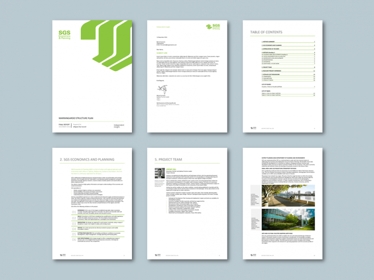 Word proposal template for economics planning consultancy. Client: SGS Economics and Planning