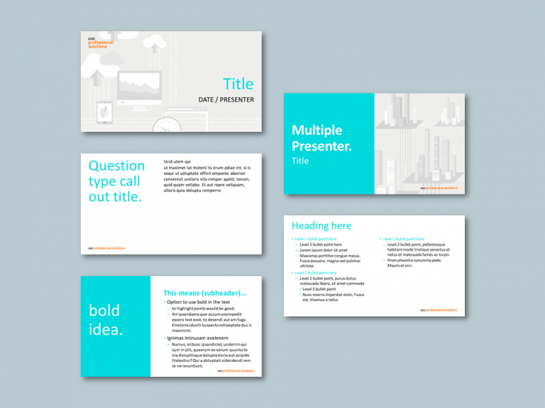 InDesign to PowerPoint presentation template for professional solutions services. Client: UXC Professional Solutions