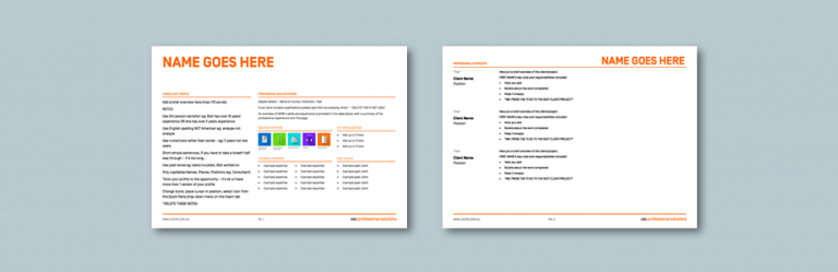 InDesign to Word consultant profile for professional solutions services. Client: UXC Professional Solutions