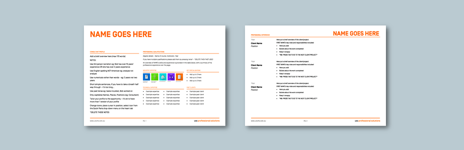 InDesign to Word consultant profile for professional solutions services​. Client: UXC Professional Solutions