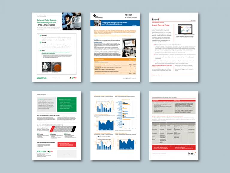 InDesign to Word data sheet templates. Clients: Schaeffler, Mercer, Ivanti