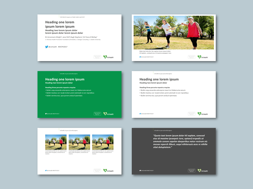 PowerPoint presentation template for health promotion foundation. Client: VicHealth