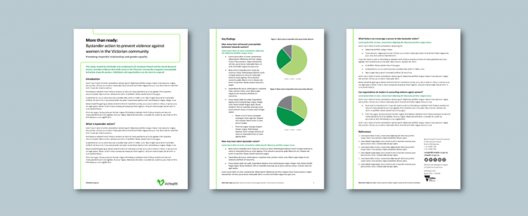 Publisher fact sheet template for health promotion foundation. Client: VicHealth