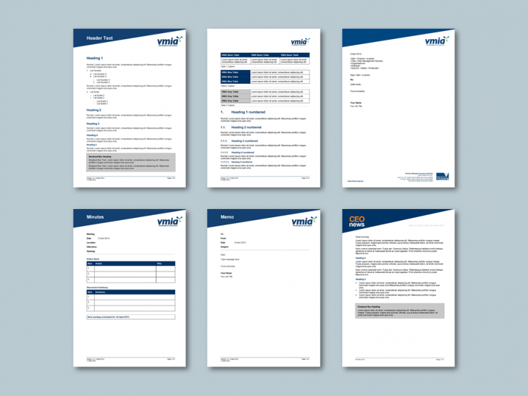 Word report and stationery templates for insurance authority. Client: Victorian Managed Insurance Authority (VMIA)