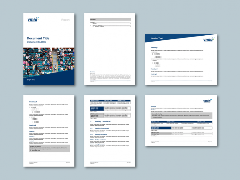 Word report template with landscape page inserts for insurance authority​. Client: Victorian Managed Insurance Authority (VMIA)