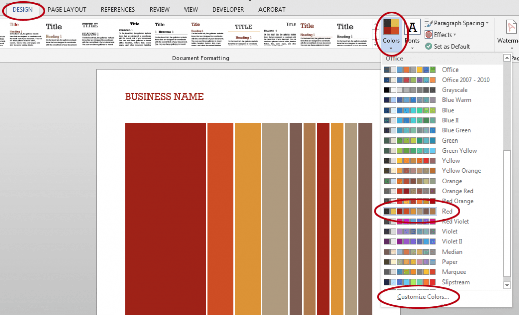 How to change the colours in a Word template. The Customize Colors option.