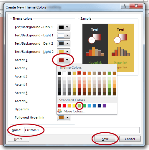 How to change the colours in a Word template. Edit theme colours.