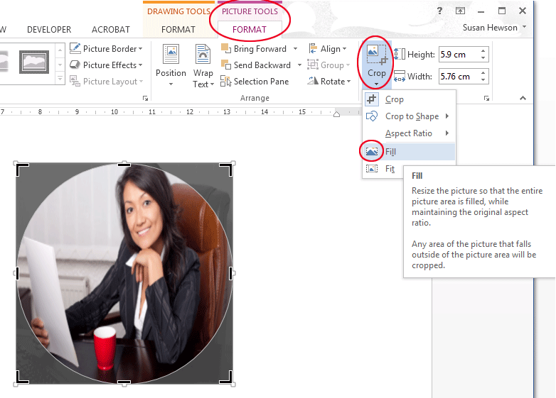 How to fill a shape with a picture in Word. The Crop button.