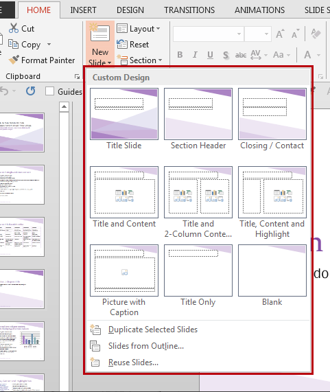 How to insert a new slide in PowerPoint. Layout Slide thumbnails.