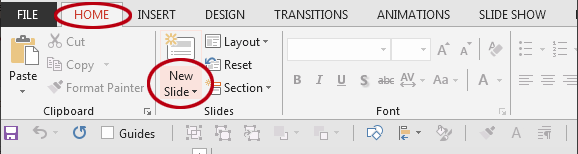 How to insert a new slide in PowerPoint. The New Slide button.