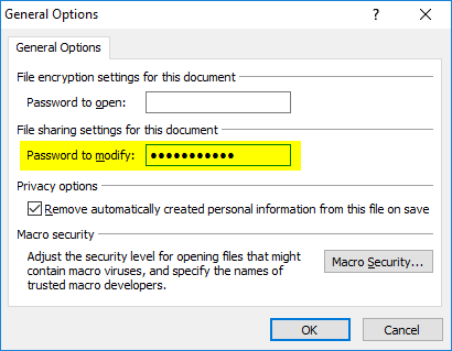 How to lock a PowerPoint presentation with password protection. The General Options dialog box.