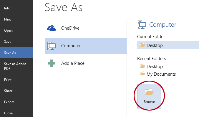 How to save a document as a template in Word. The Browse button.