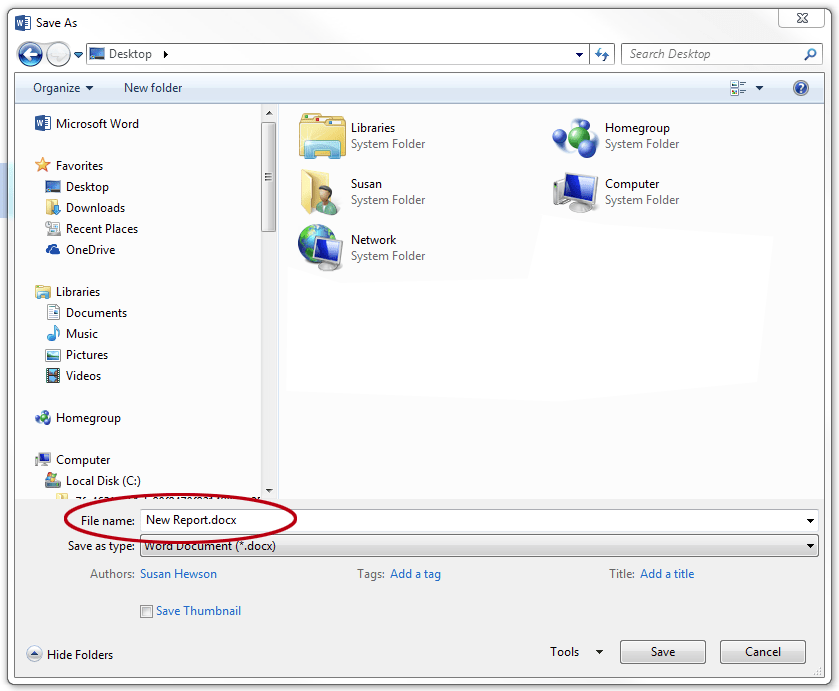 How to save a document as a template in Word. File name.