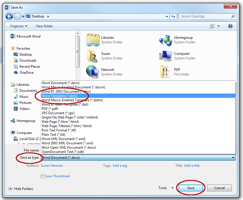How to save a document as a template in Word. Save as type.