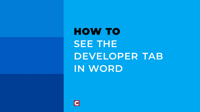 How to see the developer tab in Word